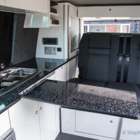 VW T5 storage cupboards, hob, table
