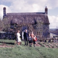 Betty Blasdale, Charles Blasdale, Jean Blasdale, Stephen Blasdale,  Peter Blasdale at Linnington Cottage, Wambrook, Chard, 1963