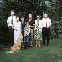 John, Jean, Betty, Peter, Mike, Joan, Charles Blasdale at Linnington Cottage, Wambrook, Chard 1963