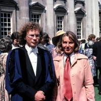 Stephen Blasdale and Betty Blasdale at graduation day, Senate House, Cambridge