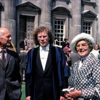 Mike Blasdale, Stephen Blasdale and grandmother May Read at graduation day, Senate House, Cambridge