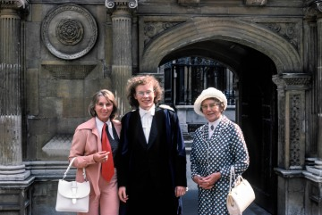 Betty Blasdale, Stephen Blasdale and May Read in front of the gate of Honour, Caius, Cambridge