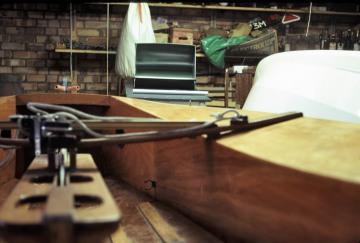Peters Boat in Garage
