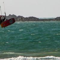 Kite surfer on Vazon Bay, Guernsey