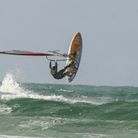 Wind surfer on Vazon Bay, Guernsey