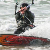 Kite surfer on Vazon Bay, Guernsey