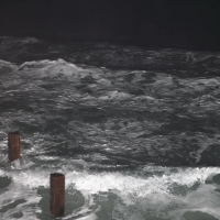 Vazon Bay by night with flash, 2010