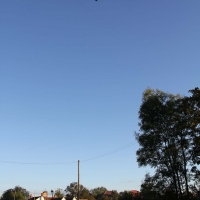 Hot air balloon over the Plough and Anchor