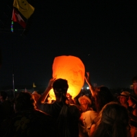 Launching a Chinese lantern, paper balloon