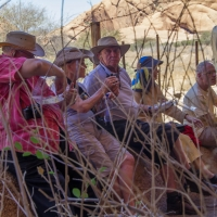 Lunch break at rock art at Spitzkoppe
