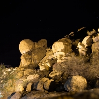 Ai Aiba lodge, rocks at night over the lane to the bedrooms