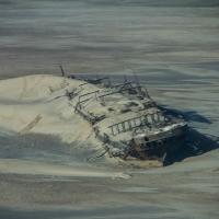 Wrecked ship Eduard Bohlen  in the sand dunes