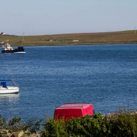 Ferry coming to pick us up from Rousay
