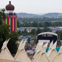 Tepee Village and the ribbon tower