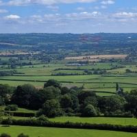 Glastonbury Tor, view of the Glastonbury festival site and Worthy Farm