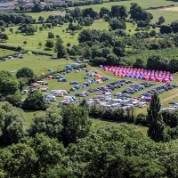 Glastonbury Tor, view of the campsite