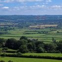 Glastonbury Tor, view of the Glastonbury festival site and Worthy Farm