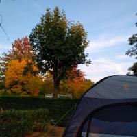 Cormoranche-sur-Saone, sun setting at campsite