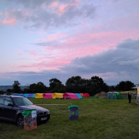 Glastonbury Abbey Extravaganza campsite and pre-erected tents