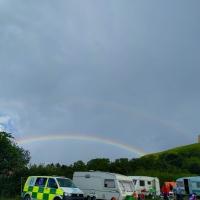 Glastonbury Abbey Extravaganza, Tor and rainbow