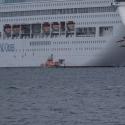 The Oriana embarking passengers