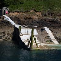 Herm island, the steps are empty as we depart