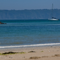 Herm island, view of Sark from Shell beach