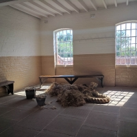 Southwell Workhouse, mens day room making oakum