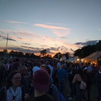Sun setting on Pilton Party
