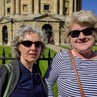Viv and Valerie at Radcliffe Camera, Oxford