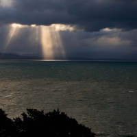 Rain clouds from Abel Tasman monument