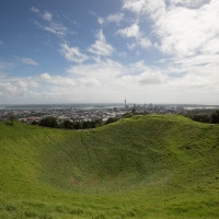 The crater on Mount Eden