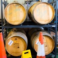 Adnams brewery, a very few wooden casks still used.