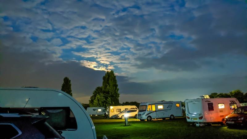 Cambridge, Camping and Caravan site at night.