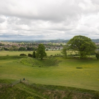 Old Sarum, view of Salisbury and campsite