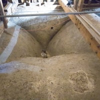 Salisbury Cathedral tower tour. The roof over the knave and aisles. Light weight stone