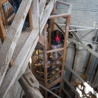 Salisbury Cathedral tower tour. The steps up and down to the ledge