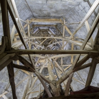 Salisbury Cathedral tower tour. Next floor up, looking up through the spire.
