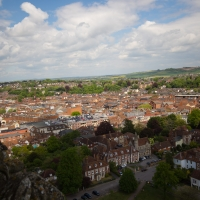 Salisbury Cathedral tower tour. View of Salisbury