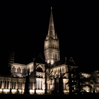 Salisbury Cathedral at night.