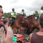 Mounted police at Glastonbury 2009