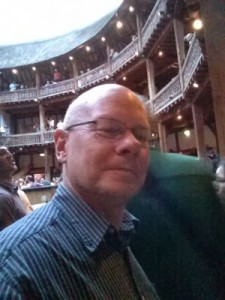 Selfie looking into The Globe Theatre