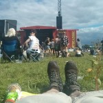 Relaxing in the sun at Reading Festival